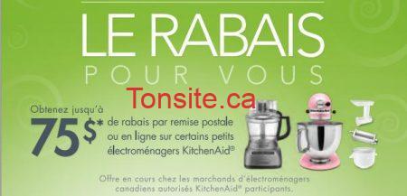 Kitchen Aid : obtenez 75$ en remise postale sur certains électroménagers!