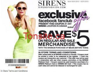 Coupon rabais imprimable Sirens de 5$!