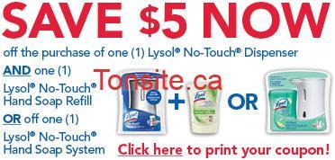 Coupon rabais de 5$ pour distributeur et recharge de savon Lysol !