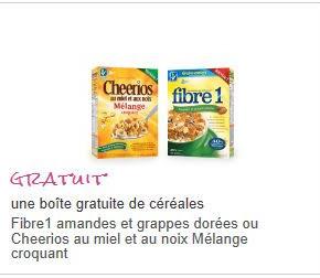 Une boîte de Fibre1 amandes et grappes dorées ou Cheerios au miel et au noix Mélange croquant GRATUITE