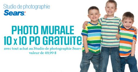coupon sears photo murale 570 - Obtenez une photo 10 x 10 nurale gratuit chez Sears!