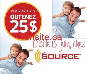 Coupon La Source de 25$ sur 100$ d'achats!
