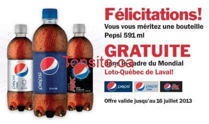 Pepsi GRATUIT dans les dépanneurs Couche-Tard!
