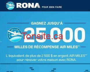 Concours Rona : gagnez jusqu'à 25 000 Milles de récompense AirMiles!