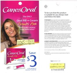 2228canesoral - Coupon rabais à imprimer de 3 $ à l'achat de Canesten oral combi-pak !