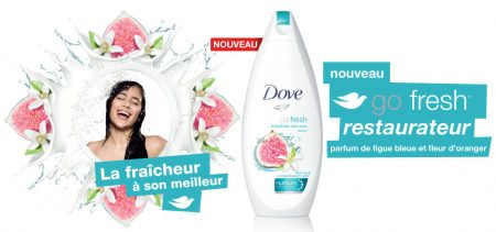 F Dove Go Fresh GET 10X PF - Coupon rabais  2.00$ sur tous les nettoyants pour le corps pour femme Dove