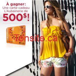aubenerie - Gagner une carte cadeau de 500$ de l'Aubainerie!