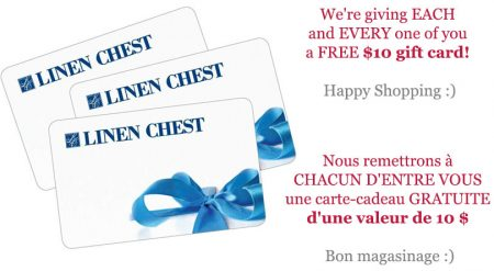 carte cadeau 10 dollar - Carte cadeau gratuite de 10$ de chez Linen Chest!!!