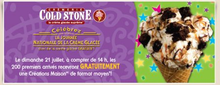 coldstone - GRATUIT : obtenez une crème glacée Cold Stone GRATUITE!