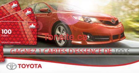 concours toyota essence 570 - Concours Toyota: Gagnez 1 des 10 cartes d'essence de 100 $