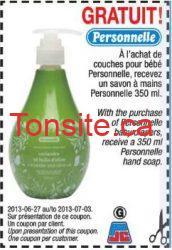 coupon a imprimer jean coutu - Un savon à main  gratuit a l'achat de couche pour bébé chez JEAN COUTU !