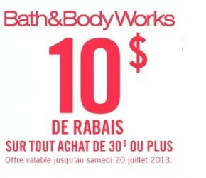 coupon rabais a imprimer - Coupon rabais Bath&Body Works de 10$ !