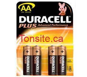 duracell - Emballage de 4 piles Duracell à 1$ après coupon
