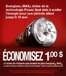 energizer max - Coupon Rabais de 1$ sur piles Energizer Max