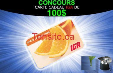 fb principale - Gagner une carte cadeau de 100$ de chez IGA!