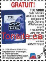 gratuit jean coutu carte memoire - Recevez une carte mémoire de 8 Go à l'achat de l'appareil photo Olympus chez Jean Coutu!