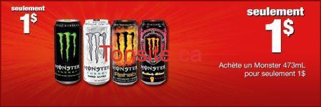 monster - Coupon Boisson énergisante Monster de 1$ chez Couche-Tard!