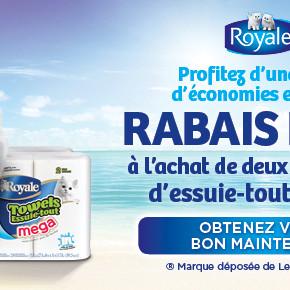 royale essuie tout coupon 290x290 - Coupon rabais à imprimer de 2$ à l'achat de 2 emballages d'essuie-tout Royale (exclusif à Pharmaprix)!