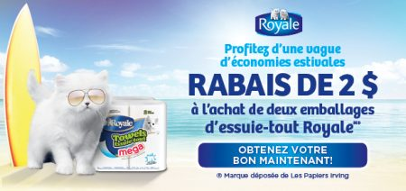 royale essuie tout coupon - Coupon rabais à imprimer de 2$ à l'achat de 2 emballages d'essuie-tout Royale (exclusif à Pharmaprix)!