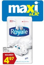 Photo of 30 rouleaux papier hygiénique < ROYALE > à 4,97$ chez Maxi