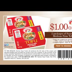 sunrise mediumfirm coupon eng v02 290x290 - Coupon rabais imprimable de 1$ sur les Tofu Sunrise !