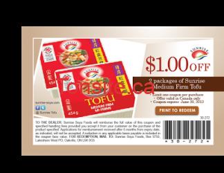 sunrise mediumfirm coupon eng v02 - Coupon rabais imprimable de 1$ sur les Tofu Sunrise !