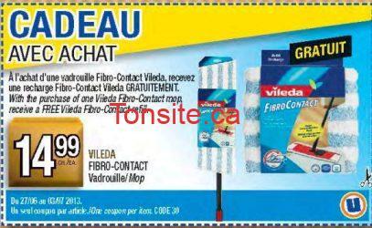 uni - Recevez une recharge Fibro-Contact Vileda GRATUITEMENT à l'achat d'une vadrouille Fibro-Contact Vileda avec coupon!