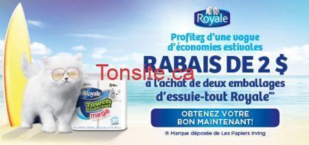 F royale f - Coupon rabais de 2$ à l'achat de deux emballages d'essuie-tout Royale !