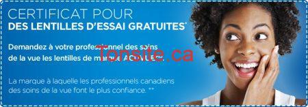 FR 5506 - Obtenez des lentilles cornéennes Acuvue GRATUITES !