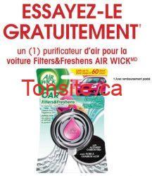 airwick voiture - GRATUIT: Essayez un purificateur d'air Air Wick pour la voiture et recevez un remboursement postale