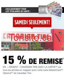 canadian tire 15 - Canadian Tire: 15% en remise en argent Canadian Tire ce samedi seulement!