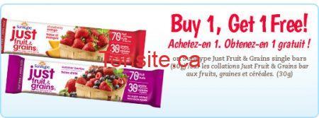 coupon fruitgrain biling - Coupon ''achetez un et obtenez un gratuit'' sur les barres de fruits Just Fruit & Grains!