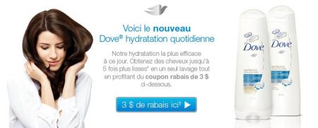coupon rabais dove a imprimer - Shampooing + Revitalisant Dove à 1,49 $ aprés coupon à imprimer !