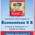 enfagrow a coupon fr 120x120 - coupon rabais à imprimer de 5 $ à l'achat d'Enfagrow® A+ (vanille ou nature) !