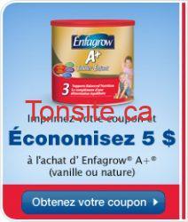 enfagrow a coupon fr - coupon rabais à imprimer de 5 $ à l'achat d'Enfagrow® A+ (vanille ou nature) !