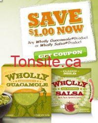 wholly - Coupon rabais à imprimer de 1$ sur les produits Wholly Guacamol ou Salsa