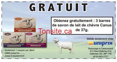 Uniprix - GRATUIT: Obtenez gratuitement 3 barres de savon de lait de chèvre Canus de 37g chez Uniprix ( GATINEAU SEULEMENT)