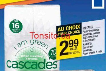 cascades - Papiers hygiéniques Cascades 8 rouleaux doubles à 99¢  après coupon!