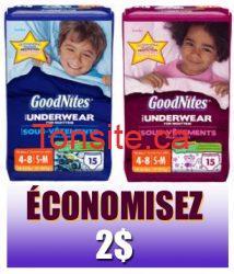 goodnites.png - Coupon rabais à imprimer de 2$ sur tout emballage de sous-vêtements de nuit GOODNITES (format Jumbo ou plus grand) au choix