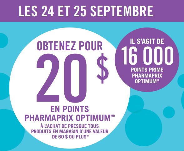 pharmaprix 23 24 9 - Pharmaprix: Obtenez 20$ en points optium à l'achat de 60$ ou plus!