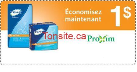 tenaa - Proxim: Coupon rabais de 1$ sur les culottes, serviettes ou protège-dessous TENA
