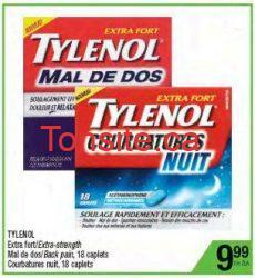 tylenol dos - TYLENOL Mal de dos à 4,49$ après rabais postal de 5,50$