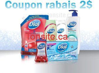 dial coupon2 - Coupon rabais à imprimer de 2$ sur 1 gel douche Dial (354mL+), 8 pains savon, lotion ou rech. 1,18L, au choix