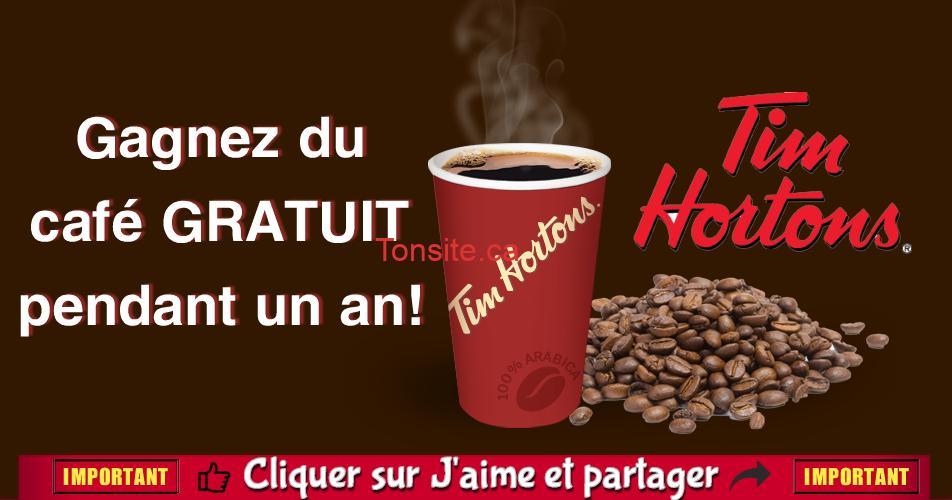 Tim Hortons: Gagnez du café gratuit pour un an!