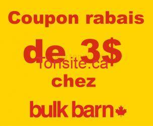 Coupon rabais de 3$ sur tout achat de 10$ ou plus chez Bulk Barn!