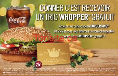 burger king whopper 25 - Obtenez un trio Whopper gratuit à l'achat d'une carte-cadeau Burger King de 25$!