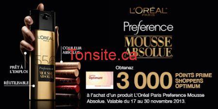 c loreal sf - Pharmaprix: Coupon de 3000 points Optium à l'achat de la coloration des cheveux Préférence Mousse Absolue de L'Oréal Paris!