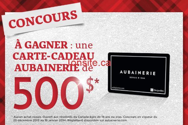 AUB - Concours Aubainerie: Abonnez-vous à l'infolettre ou rafraîchissez votre profil pour gagner une carte-cadeau de 500$!