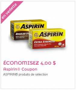 aspirin 4 252x300 - Coupon rabais de 4$ sur Aspirin!