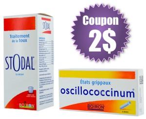 boiron 300x245 - Coupon rabais de 2$ sur un produit de la gamme hiver Boiron (Stodal ou Oscillococcinum)!